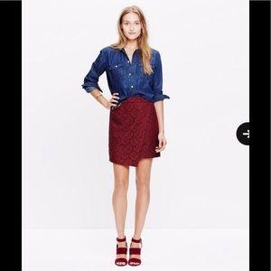 Madewell Red Burgundy Asymmetric Lace Wrap Skirt